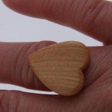 Bague cabochon en bois forme coeur frene largeur 20mm