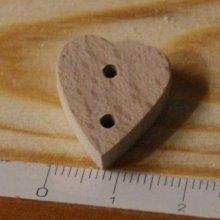 Bouton coeur 15mm bois massif fait main