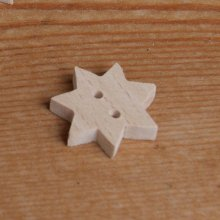 Bouton étoile a 7 branches a decorer et a coudre embellissement scrap bois fait main