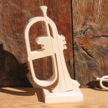 bugle bois massif ht 15 cm monté sur socle décoration mariage musique cadeau musicien fait main