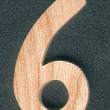 Chiffre 6 en bois 5 cm