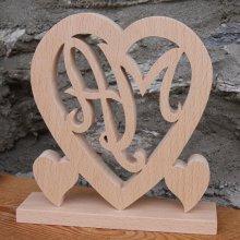 Coeur initiales personnalisées, noce de bois, 5 ans de mariage, anniversaire, hêtre massif