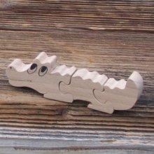 Puzzle bois 3 pièces crocodile  hetre massif, découpé a la main