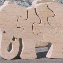 Puzzle  bois 4 pièces éléphant mangeant Hetre massif, fait main