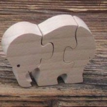 Puzzle bois 3 pièces éléphant Hetre massif, fait main, animaux savane