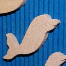 figurine miniature dauphin 3.5 x 3.7 cm bois massif a peindre ep 3mm  embellissement scrapbooking