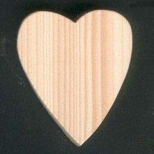 Coeur en bois massif 6 x 7.5 cm, avec ou sans piton d'accrochage, decoupé a la main