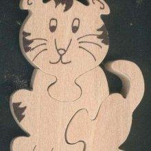 Puzzle  bois 3 pièces tigre Hetre massif, fabrication artisanale