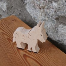 Puzzle animaux bois  puzzle ane 4 pièces en Hetre massif fait main, animaux de la ferme