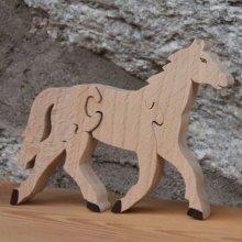 Puzzle bois 4 pièces cheval equitation Hetre massif fait main