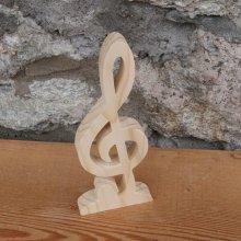 clef de sol avec socle intégré decoration musique bois massif fait main