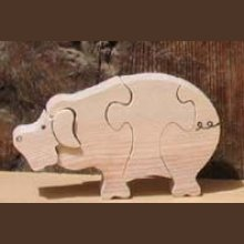 Puzzle en bois cochon 4 pièces Hetre fabrication artisanale, animaux de la ferme