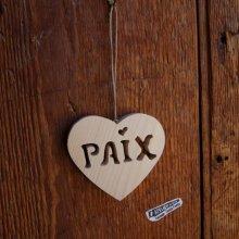 Coeur Paix en bois à suspendre