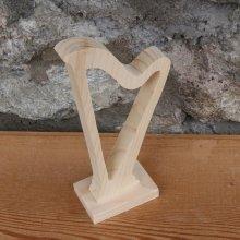 harpe montée sur socle decoration mariage musique bois massif fait main cadeau harpiste
