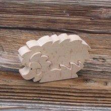 Puzzle bois 3 pièces herisson Hetre massif, fait main, animaux