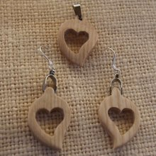 Parure coeur frêne, boucles et pendentif cadeau noce de bois