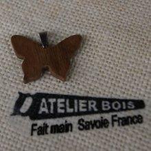 pendentif papillon bois de noyer bijoux bois et nature, fait main