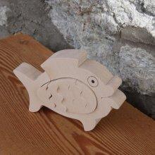 Poisson avec oeuf puzzle en bois  à peindre