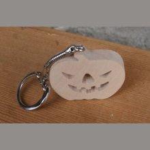 porte clef citrouille Halloween bois massif fait main