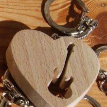 porte clef coeur et guitare electrique ou basse