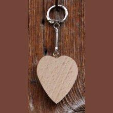 porte clef coeur hetre, activité manuelle peinture, pyrogravure, a personnaliser pour la saint valentin