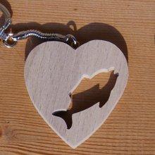 porte clef coeur et poisson cadeau pecheur