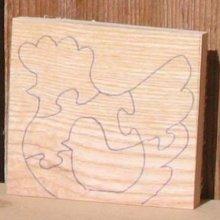 Poule puzzle à decouper bois massif a decouper soi meme