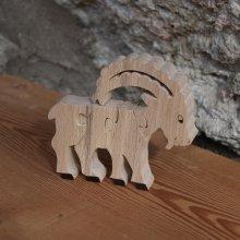 Puzzle en bois 4 pièces bouquetin de vanoise en hêtre massif, fait main, animal de montagne