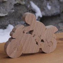 moto et motard puzzle 5  pieces en bois de hetre fait main