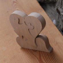 puzzle coeur 4 pieces en bois, cadeau noce de bois, saint valentin