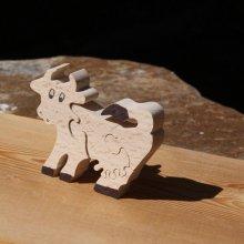 Puzzle bois 4 pièces vache Hetre massif, fait main, animaux de la ferme